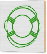 Life Preserver In Green And White Wood Print