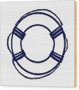 Life Preserver In Navy Blue And White Wood Print