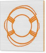 Life Preserver In Orange And White Wood Print