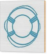 Life Preserver In Turquoise And White Wood Print