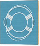 Life Preserver In White And Turquoise Blue Wood Print