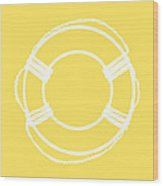 Life Preserver In White And Yellow Wood Print