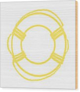 Life Preserver In Yellow And Whtie Wood Print