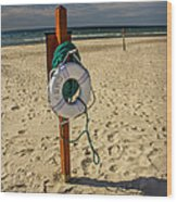 Life Preserver On The Beach In Pentwater Michigan Wood Print