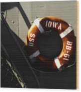 Life Ring Uss Iowa Battleship Sepia Wood Print