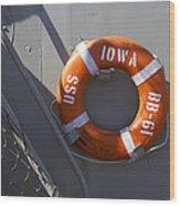 Life Ring Uss Iowa Battleship Wood Print