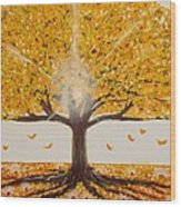 Life Tree-lit Autumn Tree With Yellow Leaves Wood Print