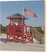 Lifeguard Siesta Beach Wood Print