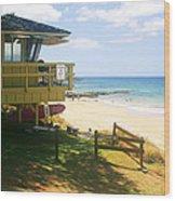 Lifeguard Hut On The Beach Wood Print