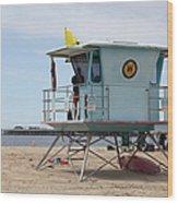Lifeguard Shack At The Santa Cruz Beach Boardwalk California 5d23710 Wood Print by Wingsdomain Art and Photography
