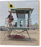 Lifeguard Shack At The Santa Cruz Beach Boardwalk California 5d23711 Wood Print by Wingsdomain Art and Photography