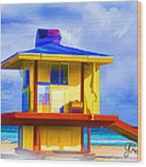 Lifeguard Station Wood Print