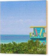 Lifeguard Station In Miami Wood Print