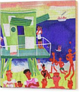 Lifeguard Station On Beach In Miami Wood Print