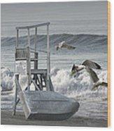 Lifeguard Station With Flying Gulls At A Lake Huron Beach Wood Print