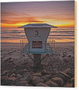 Lifeguard Tower At Dusk Wood Print