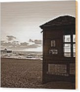 Lifeguard Tower Sunrise In Sepia Wood Print