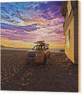 Lifeguard Tower Sunset Wood Print