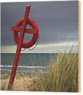 Lifesaver On The Beach Wood Print