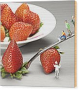 Lifting Strawberry By A Fork Lever Food Physics Wood Print