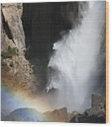 Light And Water - Yosemite Falls Wood Print