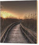 Light At The End Of The Road Wood Print