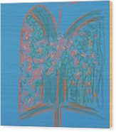 Light Blue Patio Wood Print by Marcia Meade