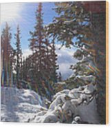 Sunburst Banff Mountain Top Calgary Canada. Wood Print