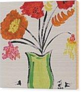 Light Green Vase Wood Print