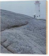 Light House At Peggys Cove Nova Scotia Wood Print