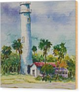 Light House At The Beach Wood Print