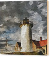 Light House In A Storm Wood Print