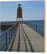Light House In Charlevoix Mich Wood Print