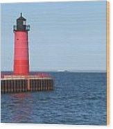 Light House Lake Michigan Wood Print