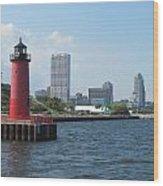 Light House Milwaukee Skyline 1 Wood Print