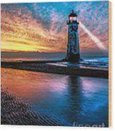 Light House Sunset Wood Print