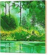 Light N Greens R Wood Print