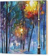Light Of Luck - Palette Knife Oil Painting On Canvas By Leonid Afremov Wood Print