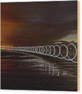 Light Play On Saunton Sands Wood Print