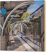 Light Rail Train System In Downtown Charlotte Nc Wood Print