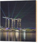 Light Show At Marina Bay Sands Hotel And Casino II Wood Print
