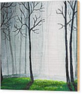 Light Through The Forest Wood Print