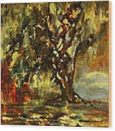 Light Through The Moss Tree Landscape Painting Wood Print