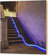 Light Trail On Steps Wood Print