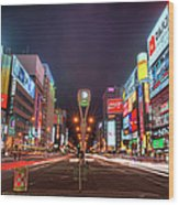Light Trails In Susukino Wood Print