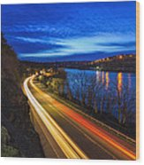 Light Trails On 99e Wood Print