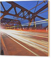 Light Trails On Broadway Bridge Wood Print
