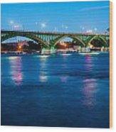 Light Up The Peace Bridge Wood Print