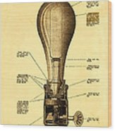 Lightbulb Patent Wood Print