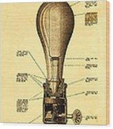 Lightbulb Patent Wood Print by Digital Reproductions